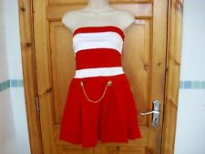 Red and white nautical mini dress size 8 rockabilly by COTTON CLUB vgc bandeau