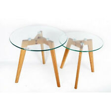 Set Of 2 Glass Top Oak Wooden Legs Round Nesting Tables Modern Home Furnitures
