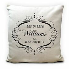 Mr and Mrs Personalised Cushion Cover Gift Valentines Day Wedding Anniversary Gi