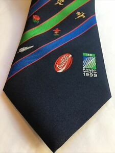 Vintage RUGBY WORLD CUP 1999 TIE Official License Product Coca Cola Sponsor