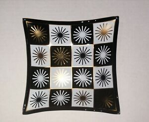 """Mcm Square Glass atomic print Dish 5.5"""" Across excellent condition"""