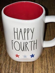 "Rae Dunn By Magenta ""HAPPY FOURTH"" Mug 4th Of July w/ Stars & RED Interior🇺🇸"