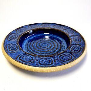 Soholm Stentoj Bornholm Denmark Handmade Blue Ceramic Dish Maria Philppi 1960's