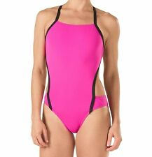 Speedo Endurance Lite Women's Vee 2 Color Block 1 Piece Open Back Swimsuit 8/34