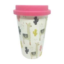 Eco Llama Bamboo Travel Mug With Pink Silicone Lid & Band Refill Mugs