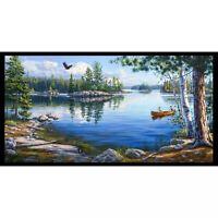 "23"" Fabric Panel - Elizabeth's Studio Digitally Printed Blue Waters Lake Forest"