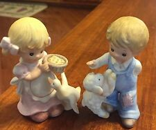 Boy and Girl Set of Two Homco Figurines Collectible Home Decor