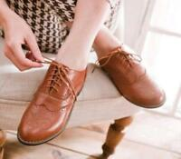 Women's Retro Brogues Girls College Low Heels Oxford Shoes Brogue Lace Up Shoes