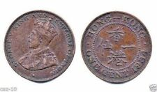 25 Hong Kong 1934 One Cent Bronze Coins, KM 17, Crowned George V Bust, F-VF