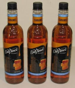 3 DaVinci Gourmet Sugar-Free Caramel Syrup 25.4 Oz 750 mL Each SEALED Lot Set