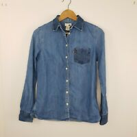 Levi's Women's Denim Shirt Button Up Blue Collar Pocket Cotton Cowboy Size M
