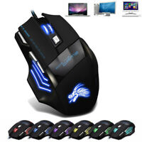 USB Wired Gaming Mouse 7 Button LED Optical 5500 DPI Mouse Computer Laptop PC