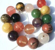18 Mixed Gemstone Round 14mm Crystal Jewellery Making Beads Amethyst Rose Quartz