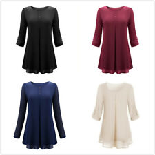 Women Casual Leisure O Neck Pleated Cuffed Sleeve Chiffon T-shirt Blouse Tops YZ