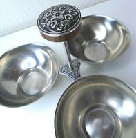 Vtg International Decorator Stainless 3-Bowl Serving Dish condiments candy treat