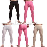 Men's Sexy See-through long johns underwear Pants Leggings Tight Pouch underpant