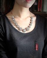 Collier Fleur Cristal Chaine Baroque Vintage Original Mariage Soirée Cadeau AZ 1
