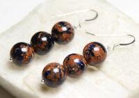 Goldstone 10mm Ball Gemstone Earrings .925 Sterling Silver Hooks Orange & Black