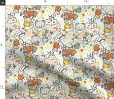 Woodland Book Club Small Leaves Forest Bears Spoonflower Fabric by the Yard