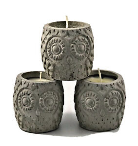 3 Pcs Nordic Concrete Owl Highly Scented Candles Wax Handmade Grey Gift Set Home