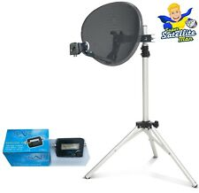 60cm Dish 2 way LNB to FIT Sky Q & tripod + Satellite Finder portable camping
