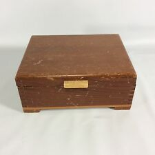 Art Deco Style Wood Trinket Box Dovetail Joint Detail Hinges Decor Distressed