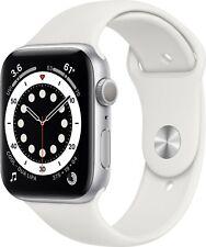 NEW!  Apple Watch Series 6 44mm (GPS) Silver Aluminium White Sport Band A2292
