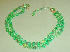 vintage double strand necklace green ab crystal glass beads beaded gorgeous