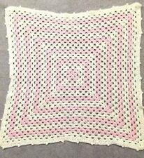 "Vintage Handmade Crochet Baby Blanket Lovey Pink White Cotton Wool 27.5"" x 27.5"""
