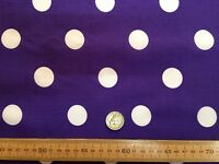 PolyCotton fabric * SPOTTED POLKA DOT * PURPLE with WHITE SPOTS * 25 MM SPOTS