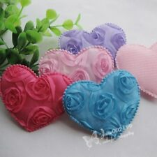 20pcs Big Padded Felt Love Heart Appliques Wedding Decor Sewing Crafts RB107