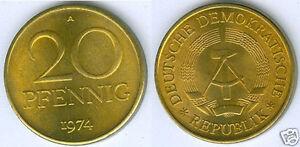 DDR 20 Pfennig Neuf Jusqu'À Pièce de Monnaie (Choisissez Entre : 1969 - 1989)