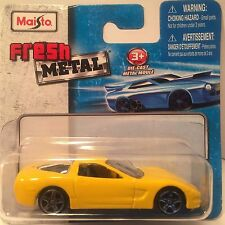 Maisto Yellow Chevy Corvette Fresh Metal Die-cast toy car scale 1/64 ages 3+.