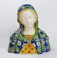Fine MINGHETTI ITALIAN MAIOLICA Hand Decorated BUST OF MADONNA c1920