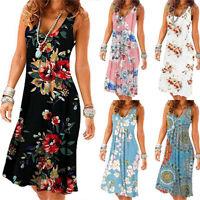 Summer Ladies Womens Holiday Casual Sleeveless Beach Party Midi Dress Sundress