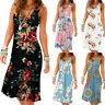 Summer Ladies Womens Holiday Casual Sleeveless Beach Party Midi Dress Sundress