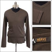 $115 NWT AGAVE Espresso Brown L/S V Neck Pima Cotton T Shirt L