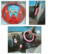 5pc Rouge Mesdames voiture Intérieur Accessoires Set Volant Housse élégant doux