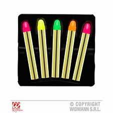 Set Of 5 Neon Sticks Pink Yellow Orange Green Face Paint Fancy Dress Make Up