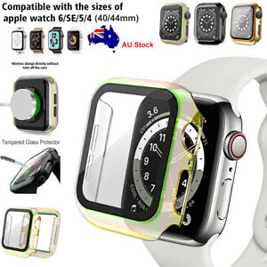 For Apple Watch Series 6/SE/5/4 Full Cover Case Tempered Glass Protector 40/44mm