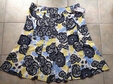 Calf Length Linen Blend Floral Plus Size Skirts for Women