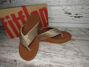 New ~ Women's FitFlop Ritzy Gold Mix Toe Thong Sandals Size 9 / 41