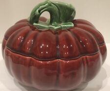 Portugal Subtil Art Pottery Pumpkin Shaped Covered Burgundy Color Serving Dish