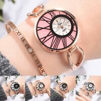 Fashion Women Crystal Bracelet Watch Stainless Steel Strap Quartz Wristwatch