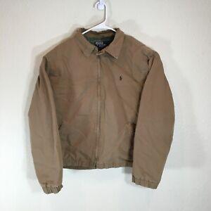 Vintage Polo Ralph Lauren Harrington Jacket Mens Large Lined Brown Full Zip Logo