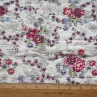"""Antique 1840 English Block Printed Floral Chintz Cotton Quilted Fabric~10""""LX9""""W"""