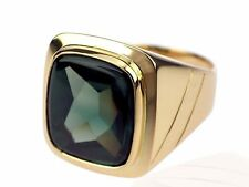 Art Deco Herren Siegel 14 K 585 Gelb Gold grüner Turmalin Ring antik 13,4 gr