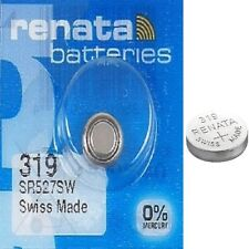Renata 319 Watch Batteries x1 Swiss Made Cell Button Sil-Oxide 1.55v SR527SW