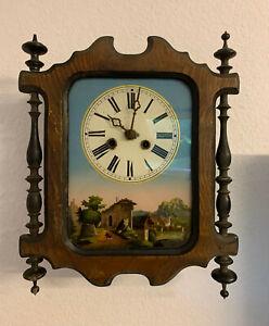 ungewöhnliche, frühe Schwarzwald Uhr, massives Werk, Federzug, original Pendel
