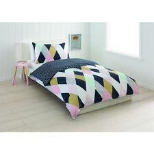 Kids Girls Quilt Doona Cover Set Double Bed Metallic Print Geometric Design